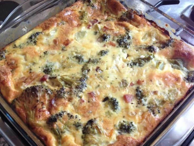 Quiche fara Crusta cu Broccoli, Sunca si Branza