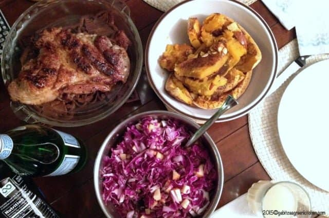 Red Cabbage Salad with Apples Walnuts and Raisins
